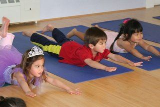 Kids participating in free online yoga class